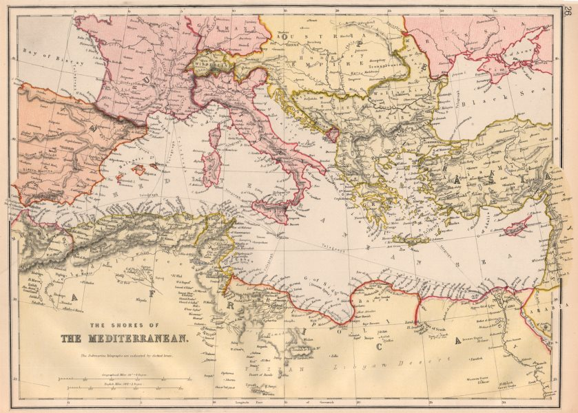 Associate Product MEDITERRANEAN. Showing Telegraph cables. BLACKIE 1882 old antique map chart