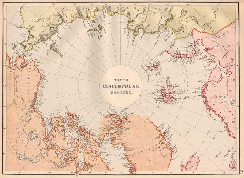 "Associate Product ARCTIC. ""North Circumpolar Regions"". Incomplete coastlines. Exploration 1882 map"