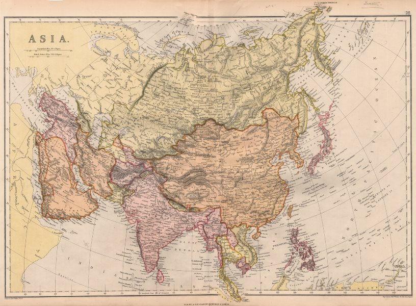 "Associate Product ASIA.""Hindostan"" Pegu Niphon Persia Anam Siam ""Abou Thubbi"" (Abu Dhabi) 1882 map"