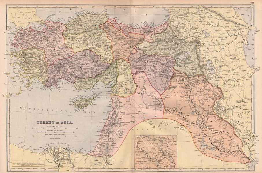 Associate Product TURKEY IN ASIA. Scale in Agatch. Levant. Assyrian Cities. Eyalets Liwas 1882 map