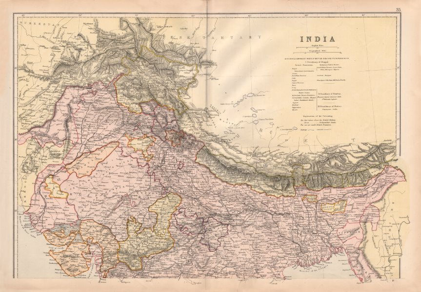 BRITISH INDIA NORTH. Shows railways actual & planned.Independent states 1882 map