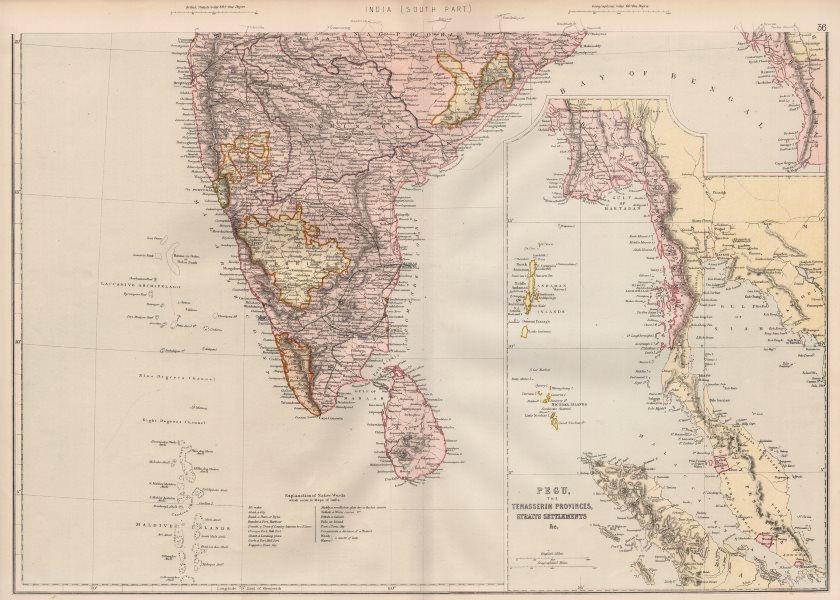 Associate Product BRITISH INDIA S. Pegu Tenasserim Straits Settlements Singapore Maldives 1882 map