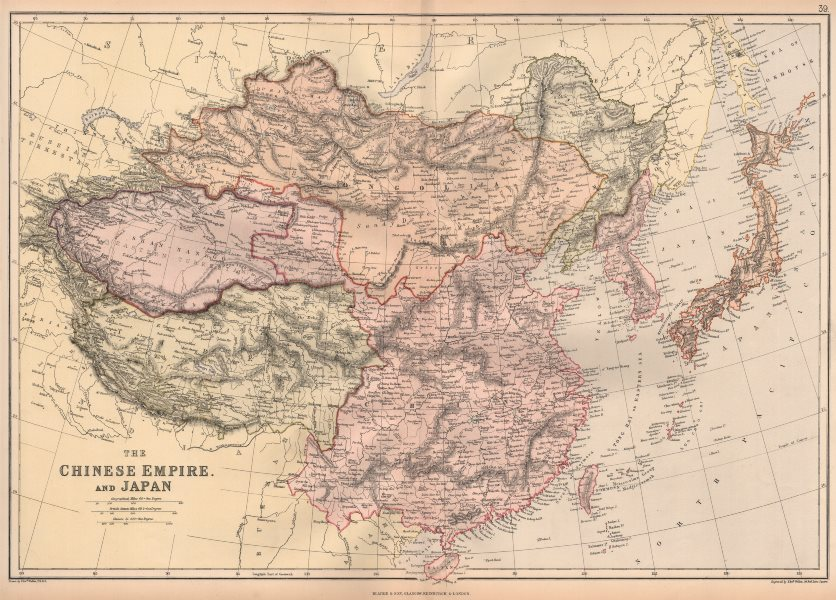 Associate Product EAST ASIA. Chinese Empire & Japan. Scale in Chinese Li. BLACKIE 1882 old map