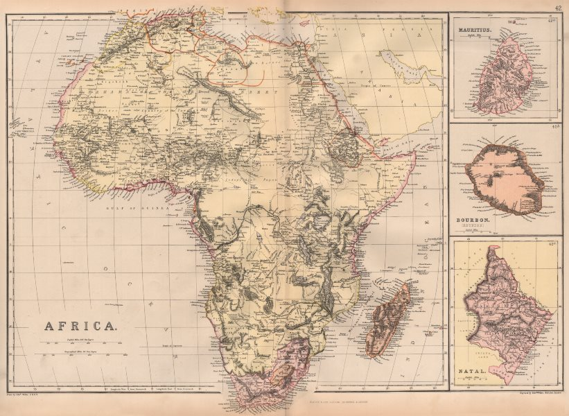 """Associate Product EARLY COLONIAL AFRICA. At start of """"Scramble for Africa"""" colonisation 1882 map"""