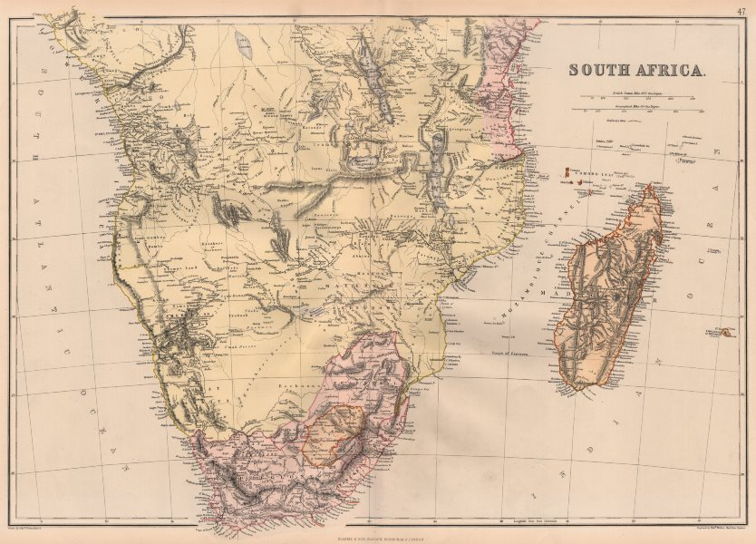 Associate Product EARLY COLONIAL SOUTHERN AFRICA.Ovaherero Great Namaqua Land Cape Colony 1882 map