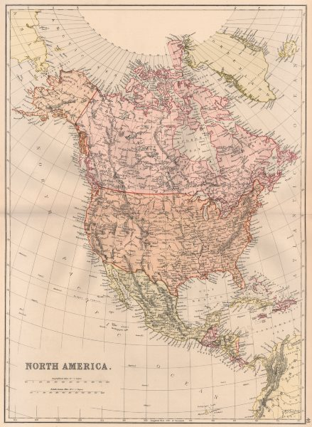 "N AMERICA. USA Canada Caribbean. Shows ""Mosquito reserva. ~. BLACKIE 1882 map"