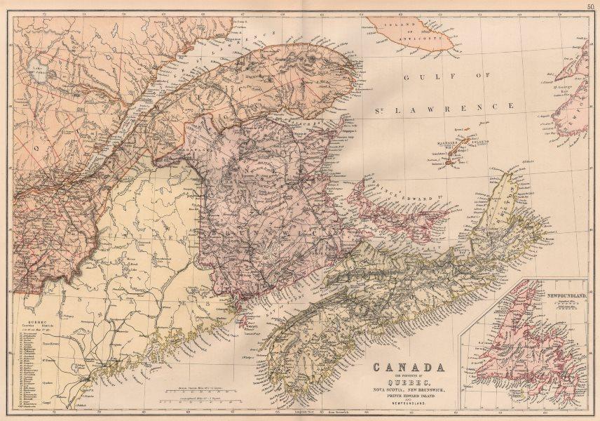Associate Product CANADA MARITIME PROVINCES. QC NS NB Prince Edward Island Newfoundland 1882 map