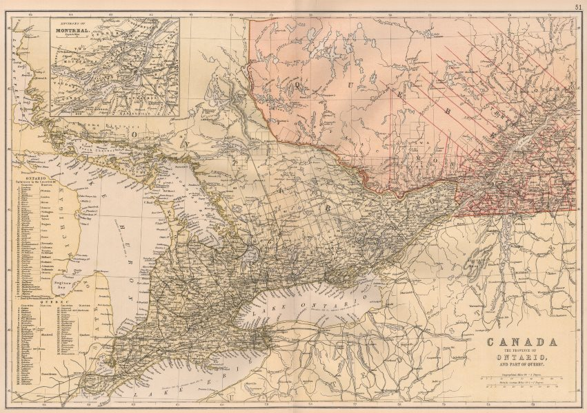 Associate Product ONTARIO & QUEBEC. Shows counties. Montreal environs. Lake Huron.BLACKIE 1882 map