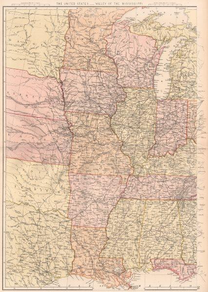 USA MISSISSIPPI VALLEY. LA AR Alabama Missouri Illinois Indiana IA WI 1882 map