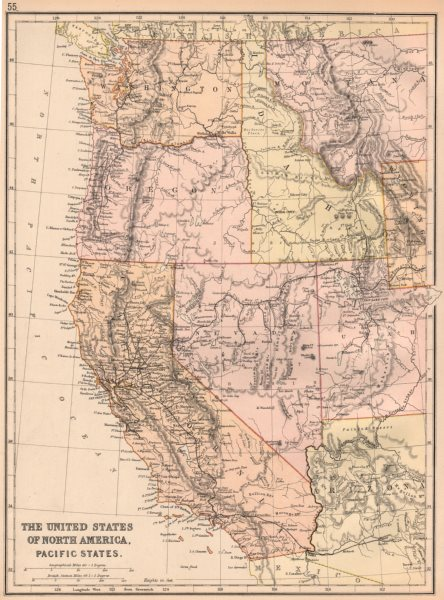 USA PACIFIC STATES. California Oregon Washington Idaho Nevada.Railroads 1882 map