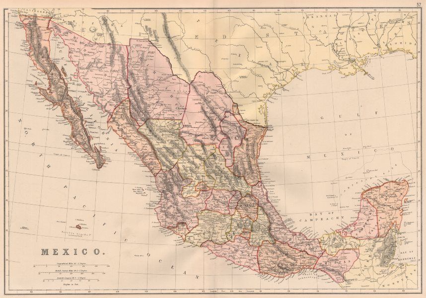 Associate Product MEXICO. Showing states. Scale in Spanish Leagues. BLACKIE 1882 old antique map
