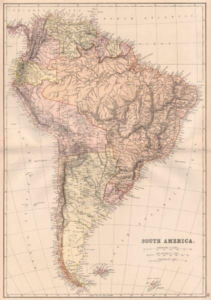 Associate Product S AMERICA. Patagonia La Plata.Bolivia with Litoral.New Granada/Colombia 1882 map