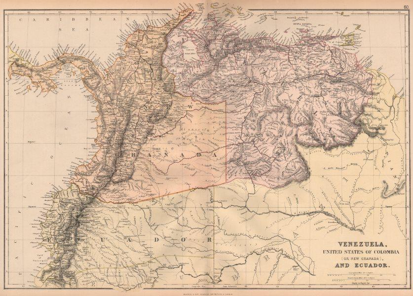 Associate Product S AMERICA NW. Venezuela, New Granada(Colombia) w/Panama Ecuador.BLACKIE 1882 map