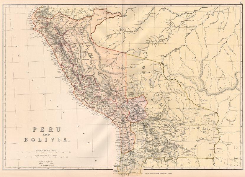 Associate Product PERU & BOLIVIA W/LITORAL. < Pacific War borders.Planned La Paz railway 1882 map