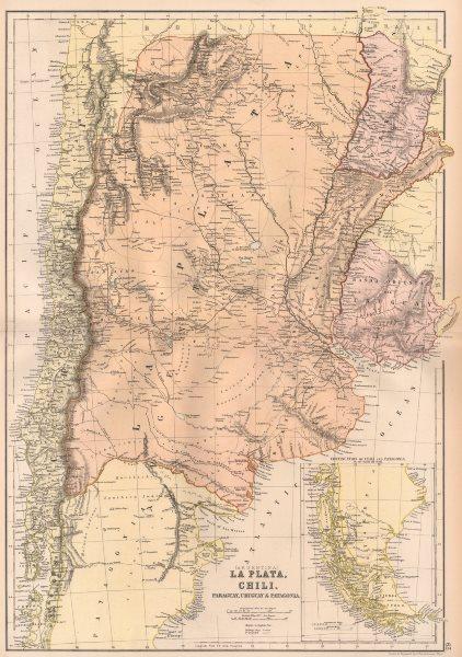 Associate Product LA PLATA. Banda Oriental del Uruguay. Paraguay w/o Gran Chaco.Argentina 1882 map