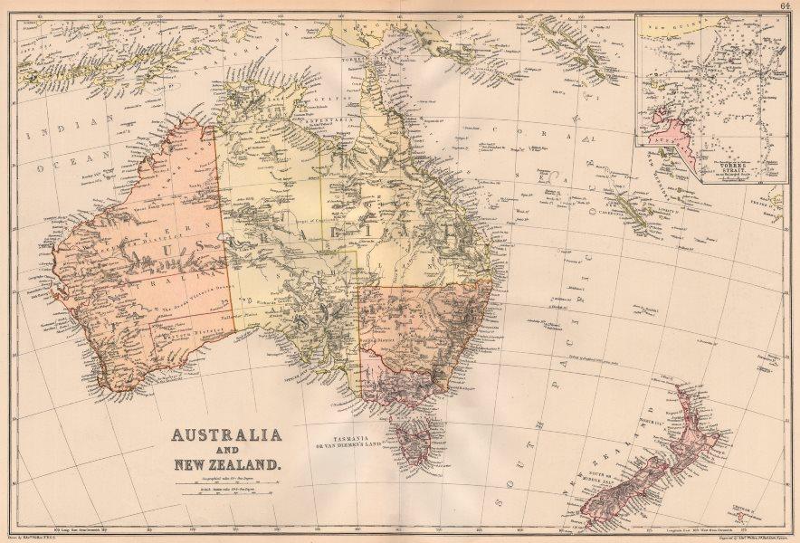 Associate Product AUSTRALASIA. Australia New Zealand. Inset Torres Strait detail. BLACKIE 1882 map