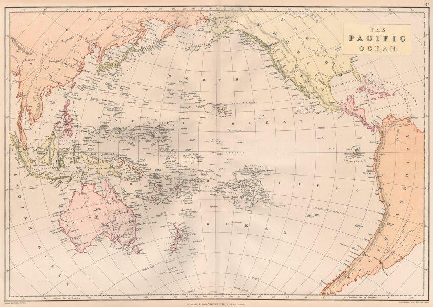 Associate Product PACIFIC OCEAN. Australia New Zealand E.Indies Polynesia Melanesia Japan 1882 map