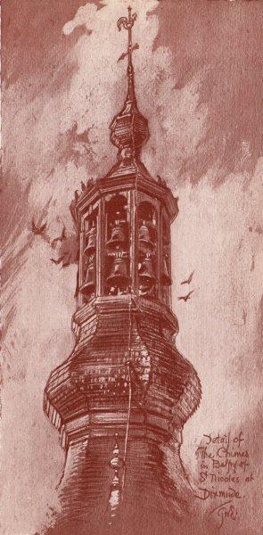 Associate Product DIXMUDE (DIKSMUIDE) . Detail of the Chimes Belfry St. Nicholas. Belgium 1916
