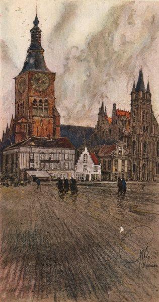 DIXMUDE (DIKSMUIDE) . The Ancient Place. Belgium 1916 old antique print