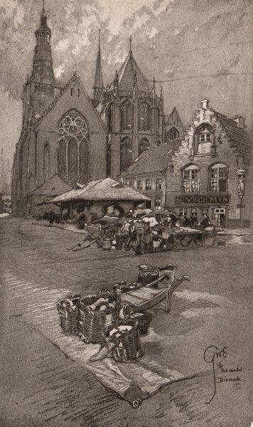 Associate Product DIXMUDE (DIKSMUIDE) . The Fish Market. Belgium 1916 old antique print picture