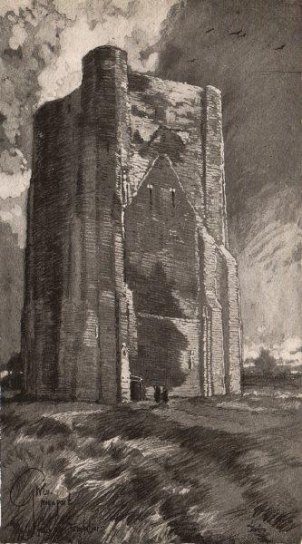 Associate Product NIEUWPOORT. The Tower of the Templars. Belgium 1916 old antique print picture