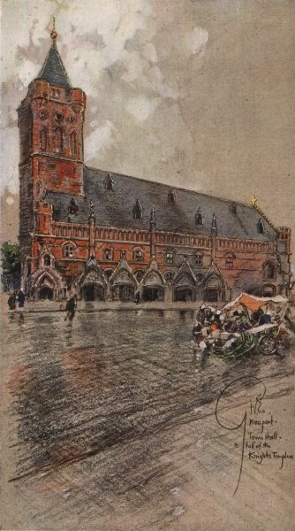 Associate Product NIEUWPOORT. The Town Hall-Hall of the Knights Templar. Belgium 1916 old print