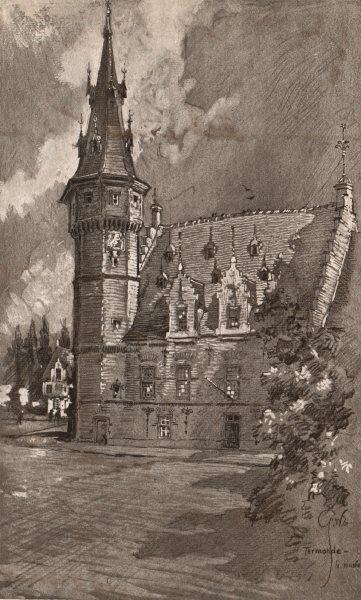 Associate Product TERMONDE (DENDERMONDE) . The Museum. Belgium 1916 old antique print picture