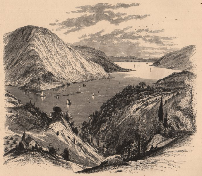 Associate Product NEW YORK STATE. Anthony's Nose, from the Western Shore. Hudson 1874 old print