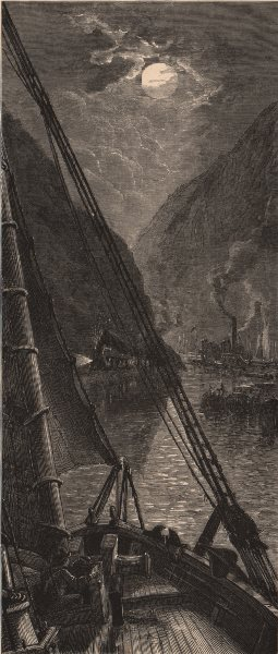 Associate Product NEW YORK STATE. Near Anthony's Nose at night. Westchester. Hudson 1874 print