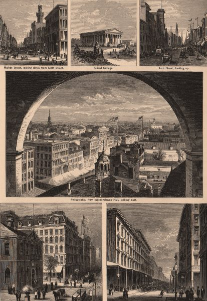 Associate Product PHILADELPHIA. Market Street. Girard College. Arch Street. Chestnut Street 1874