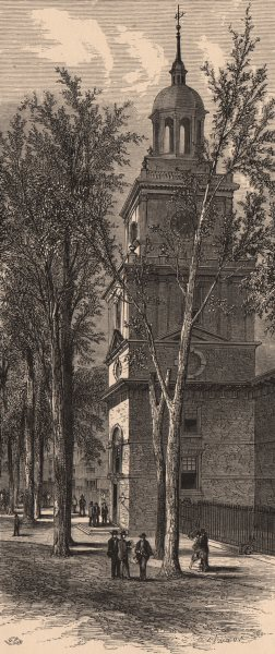 Associate Product PHILADELPHIA. Tower and Steeple, Independence Hall. Pennsylvania.  1874 print