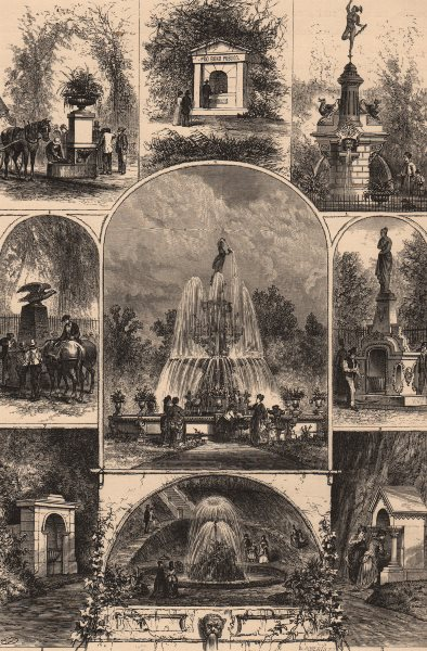 Associate Product PHILADELPHIA. Fountains in the city. Pennsylvania 1874 old antique print