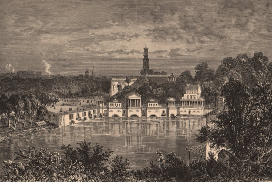 Associate Product PHILADELPHIA. Fairmount water-works. Pennsylvania 1874 old antique print
