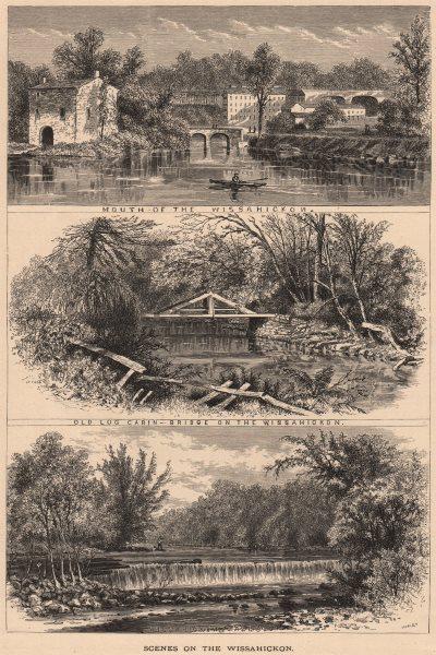Associate Product PHILADELPHIA. Wissahickon scenes. Mouth. Old Log Cabin. Bridge. Falls 1874