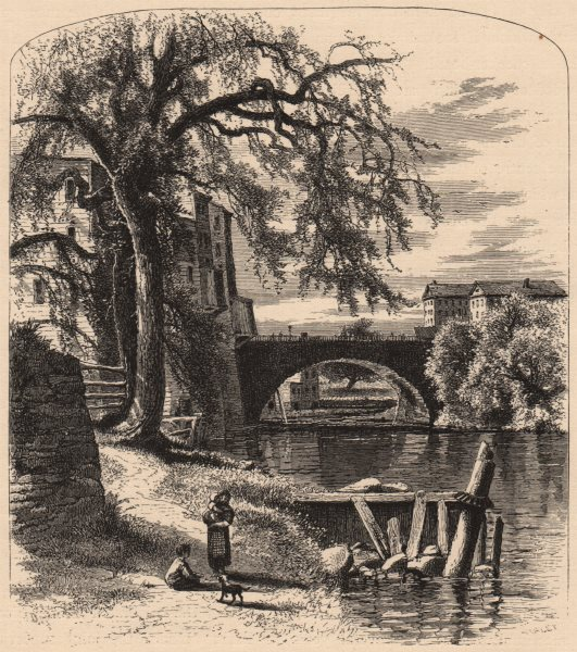 Associate Product HARTFORD. Main-street Bridge. Connecticut 1874 old antique print picture