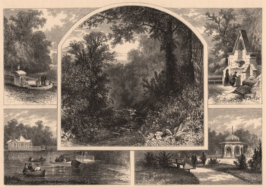 Associate Product BALTIMORE. Scenes in Druid Hill Park. Maryland 1874 old antique print picture