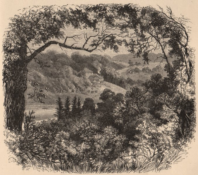 MARYLAND. Scene on Lake Roland 1874 old antique vintage print picture
