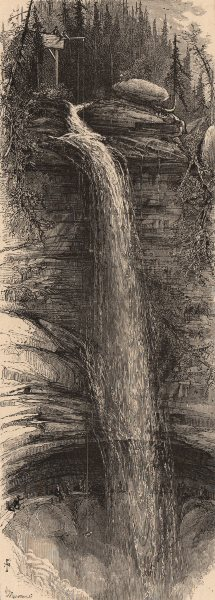 Associate Product NEW YORK STATE. First leap of the falls. Catskills 1874 old antique print