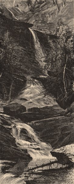Associate Product NEW YORK STATE. The Five Cascades, Kauterskill Clove. Catskills 1874 old print
