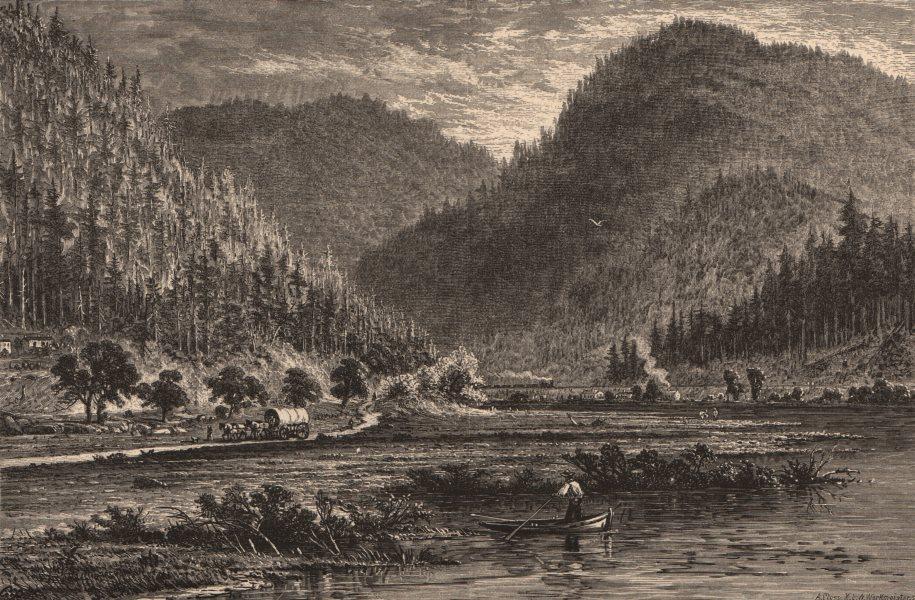 Associate Product PENNSYLVANIA. Tyrone gap, view from the bridge. Wagon. Juniata 1874 old print