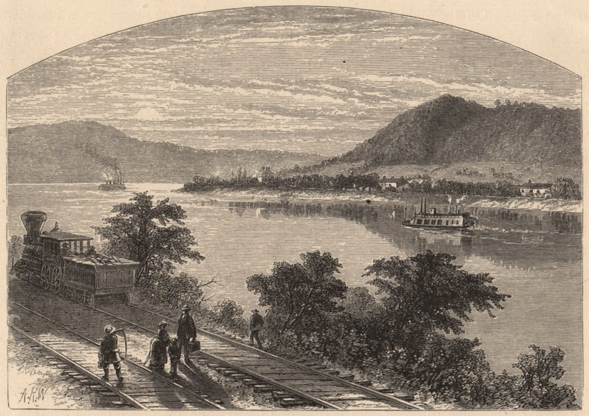 Associate Product PENNSYLVANIA. The Ohio, below Pittsburg. Steamboat 1874 old antique print