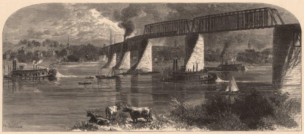 Associate Product PARKERSBURG. Baltimore and Ohio Railroad-Bridge. West Virginia 1874 old print