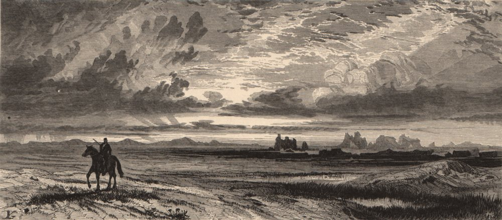 Associate Product WYOMING. Red Buttes, Laramie Plains 1874 old antique vintage print picture