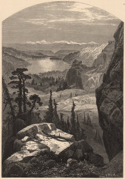 Associate Product CALIFORNIA. Donner Lake, Nevada 1874 old antique vintage print picture