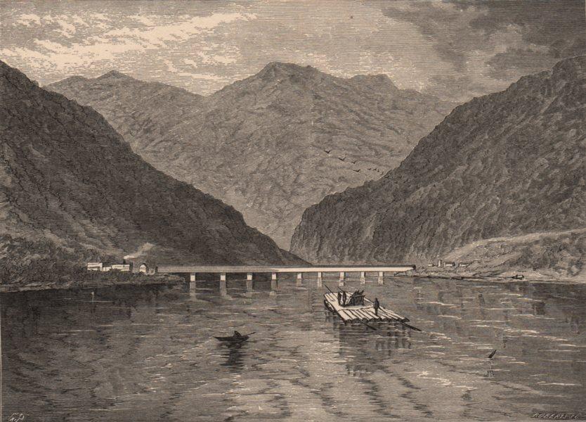 PENNSYLVANIA. Dauphin Rock. Raft. Susquehanna 1874 old antique print picture