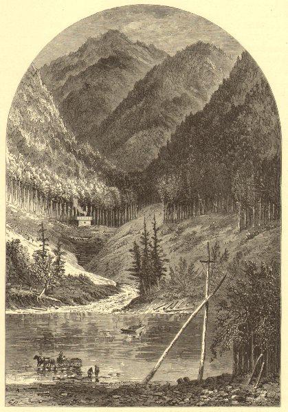 Associate Product PENNSYLVANIA. Ferry at Renovo. Horses & cart. Susquehanna 1874 old print