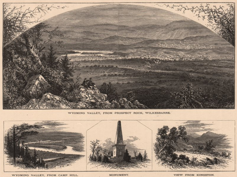 Associate Product PENNSYLVANIA. Wyoming Valley Prospect Rock Wilkes-Barre Kingston Camp Hill 1874