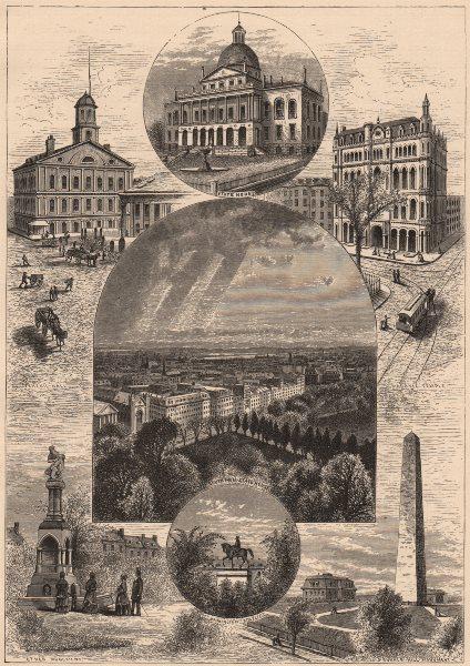 Associate Product BOSTON, MA. City scenes. State House. Faneuil Hall. Masonic Temple 1874 print
