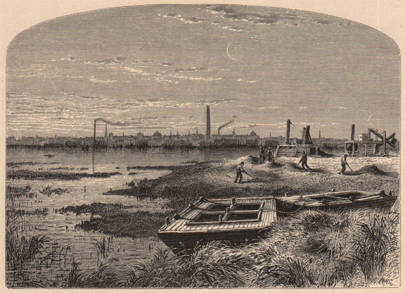 Associate Product BOSTON. Charlestown, from Brighton. Massachusetts 1874 old antique print