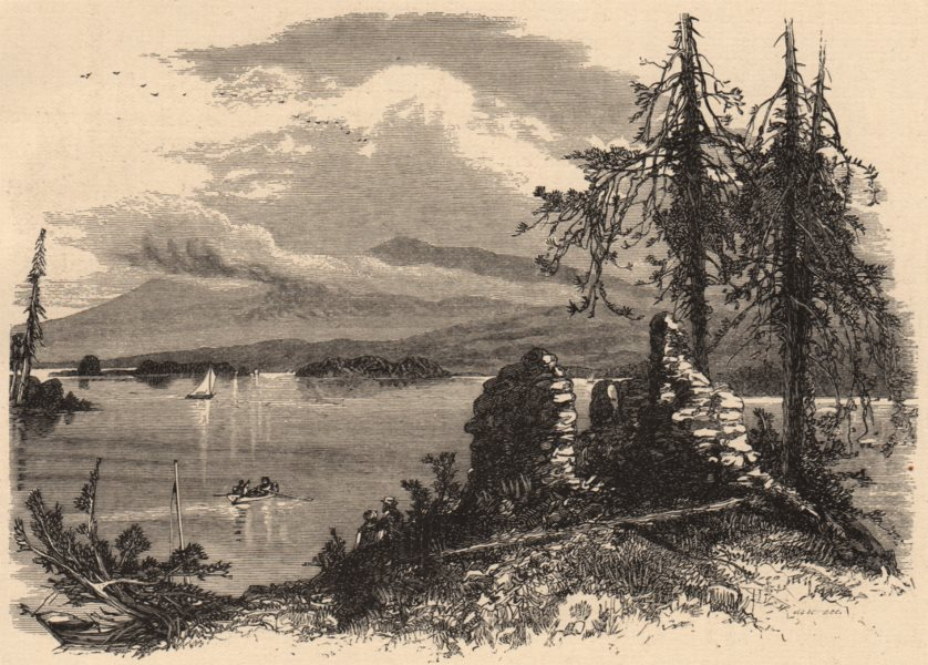 Associate Product NEW YORK STATE. Lake George, North from Tea Island 1874 old antique print